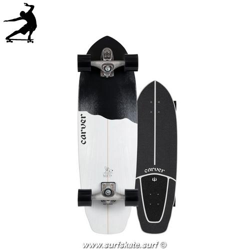 """SurfSkate Carver Black Tip 32.5"""" C7"""